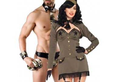 Carnevale Coppia - Costume da Soldatessa Pin Up Army Girl & Army Costume Man Roleplay