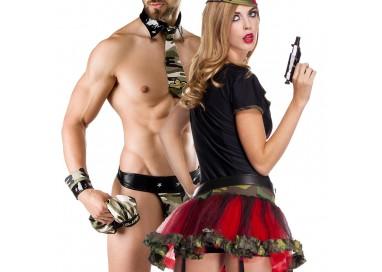 Carnevale Coppia - Costume Da Soldatessa Sexy & Army Costume Man Roleplay