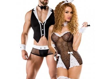 Carnevale Coppia - Costume Nero Da Coniglietta Sexy Roleplay & Barkeeper Costume Man Roleplay