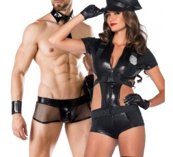 Sexy Shop Online I Trasgressivi - Carnevale Coppia - Costume da Poliziotta Nero Officer Booty On Duty & Cop Costume Man Roleplay
