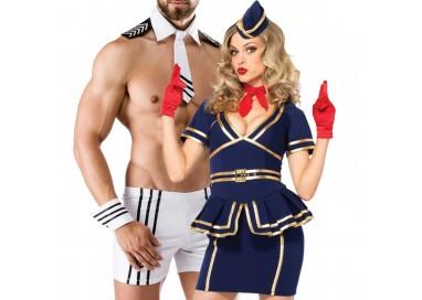 Carnevale Coppia - Costume d'Assistente Di Volo & Captain Costume Man Roleplay