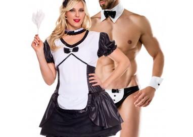 Carnevale Coppia - Costume da Cameriera Sexy & Da Maggiordomo Sexy