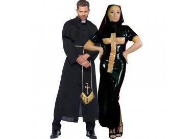 Carnevale Coppia - Costume Lucido Da Suora In Lattice & Da Prete