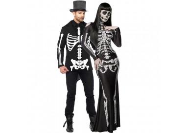 Carnevale Coppia - Costume da Skeleton Lady & da Scheletro
