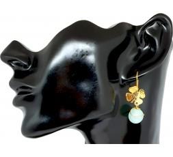 Sexy Shop Online I Trasgressivi - Bigiotteria Donna - Orecchino Quadrifoglio con Pallina Pendente Azzurra
