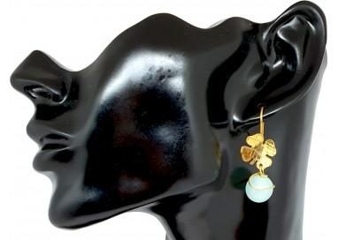 Bigiotteria Donna - Orecchino Quadrifoglio con Pallina Pendente Azzurra
