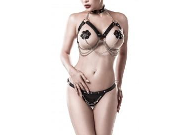 Sexy Lingerie - Three Part Erotic Set - Grey Velvet