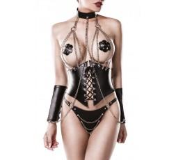 Sexy Shop Online I Trasgressivi - Sexy Lingerie - Four-part Corsage Set - Grey Velvet