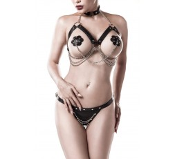 Sexy Shop Online I Trasgressivi - Sexy Lingerie - Three-part Erotic Set - Grey Velvet