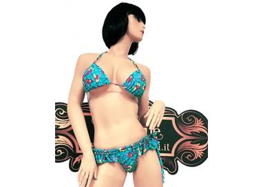 Costume Mare Bikini Donna - Bikini Azzurro con Stampa Sirena - Ivete Pessoa