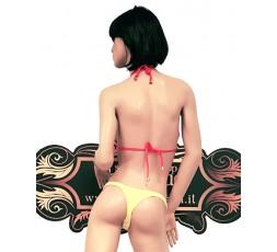 Sexy Shop Online I Trasgressivi - Costume Mare Bikini Donna - Bikini Giallo con Bordature Rosa - Ivete Pessoa