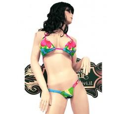 Sexy Shop Online I Trasgressivi - Costume Mare Bikini Donna - Bikini Hawaiano a Fiori con Cordini Fucsia - Ivete Pessoa