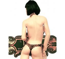 Sexy Shop Online I Trasgressivi - Costume Mare Trikini Donna - Trikini Leopardato con Fibbie Dorate - Ivete Pessoa