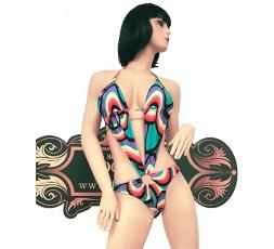 Sexy Shop Online I Trasgressivi - Costume Mare Trikini Donna  - Trikini Multicolore Verde, Nero e Viola - Ivete Pessoa