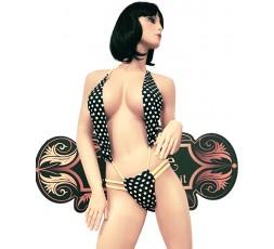 Sexy Shop Online I Trasgressivi - Costume Mare Trikini Donna - Trikini Nero a Pois Bianchi e Laccetti Giallo Fluo - Ivete Pessoa