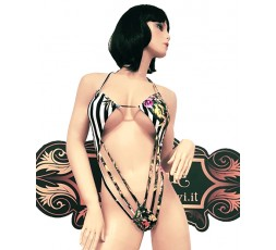 Sexy Shop Online I Trasgressivi - Costume Mare Trikini Donna - Trikini Zebrato con Motivo Floreale - Ivete Pessoa