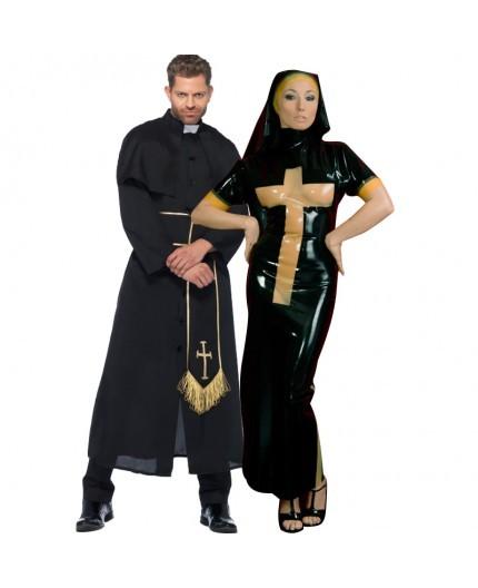 Sexy Shop Online I Trasgressivi - Halloween Coppia - Costume Lucido Da Suora In Lattice & Da Prete