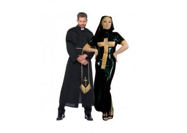 Il consiglio del giorno: Halloween Coppia - Costume Lucido Da Suora In Lattice & Da Prete