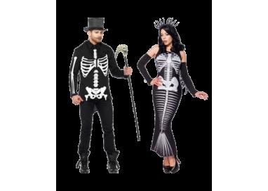 Halloween Coppia - Costume Da Scheletro & Skeleton Mermaid