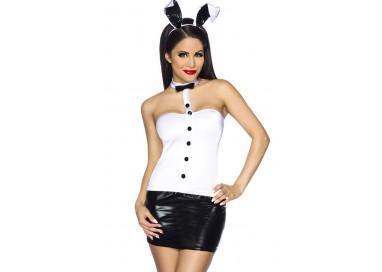 Costume Sexy Da Coniglietta Nero E Bianco - Obsessive