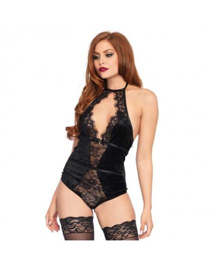 Body Nero Con Pizzo Velvet & Eyelash Lace Teddy – Leg Avenue