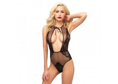 Sexy Shop Online I Trasgressivi - Sexy Lingerie - Body Nero Pizzo Pois - Leg Avenue