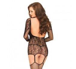 Sexy Shop Online I Trasgressivi - Abito Sexy - Mini Abito Reggicalze In Pizzo E Rete Nero Mini Dress Garter - Leg Avenue