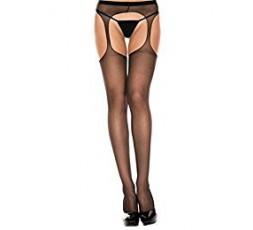 Sexy Shop Online I Trasgressivi Calze Nere Velate Suspender Sheer Hose - Baci Lingerie