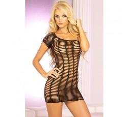 Sexy Shop Online I Trasgressivi Mini Vestido Perforado Negro De Futureshock 1 Vestido De Hombro - Pink Lipstick