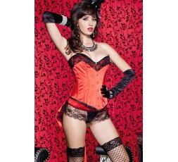 Sexy Shop Online I Trasgressivi - Sexy Lingerie - Set Corsetto Satin 2 Pezzi Silhouette Rosso E Nero - Music Legs