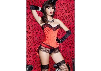 Sexy Lingerie - Set Corsetto Satin 2 Pezzi Silhouette Rosso E Nero - Music Legs