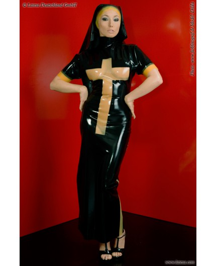 Sexy Shop Online I Trasgressivi - Carnevale Donna - Costume Lucido Da Suora In Lattice - Latexa