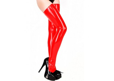 Calze & Collant - Stockings Rosse Lattice Lucide - Latexa