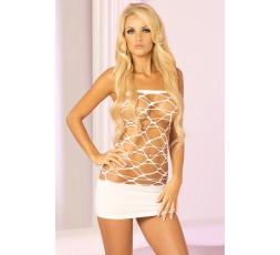 Mini Abito Bianco Forato Web Of Seduction Dress  - PINK LIPSTICK