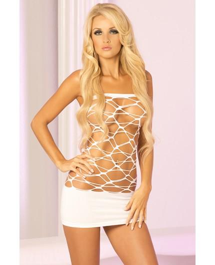 Sexy Shop Online I Trasgressivi - Abito Sexy - Mini Abito Bianco Forato Web Of Seduction Dress - Pink Lipstick
