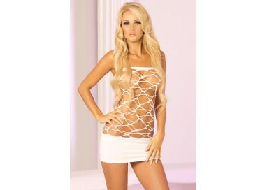 Abito Sexy - Mini Abito Bianco Forato Web Of Seduction Dress - Pink Lipstick