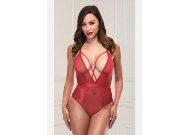 Body Rosso Con Pizzo S/M Strappy Teddy With Deep V - Baci