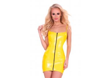 Abbigliamento In Latex - Mini Abito Giallo Lucido Datex Zip Up Front Dress - Guilty Pleasure