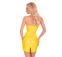 Sexy Shop Online I Trasgressivi - Abbigliamento In Latex - Mini Abito Giallo Lucido Datex Zip Up Front Dress - Guilty Pleasure