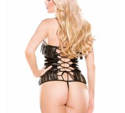 Sexy Shop Online I Trasgressivi - Abbigliamento In Pelle - Faux Leather Corset Top With G String - Allure