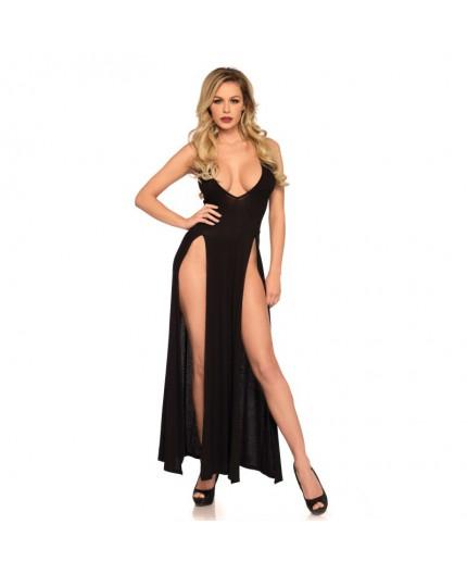 Sexy Shop Online I Trasgressivi - Abito Sexy - Abito Lungo Nero Deep V Dual Slit Jersey Maxi Dress - Leg Avenue