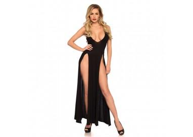 Abito Sexy - Abito Lungo Nero Deep V Dual Slit Jersey Maxi Dress - Leg Avenue