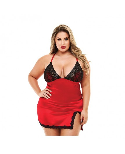 Chemise In Raso E Pizzo Con Slip 2 Pc Lace E Satin Chemise With Panty - Baci