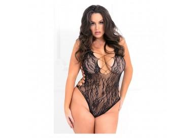 Sexy Lingerie - Bodysuit Nero In Rete Ricamata - René Rofé Lingerie