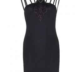 Mini Abito Nero Con Ricamo Spandex Multi Strap Mini Dress With Applique Accent - Leg Avenue