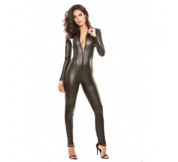 Catsuit Nera In Lattice Manica Lunga Whiplash Catsuit - Allure