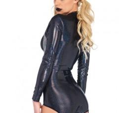 Body Con Giarrettiera Shimmer Iridescent Skull Garter Bodysuit S - Leg Avenue
