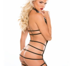 Sexy Shop Online I Trasgressivi Mini Abito Nero Effetto Bagnato Aperto Con Stringhe Pleasure Plunge Strappy Dress - Allure