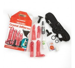 Sexy Shop Online I Trasgressivi - Kit e Set - StrapOn Vac U Lock Crystal Jellies Set Pink - Doc Johnson