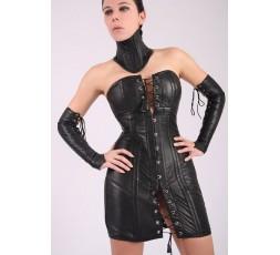Abito Corsetto In Pelle Real Leather Corset Dress Nero - Your Fetish World